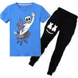 Kids T-Shirt Casual Marshmello Tops Clothes With Trousers Pants
