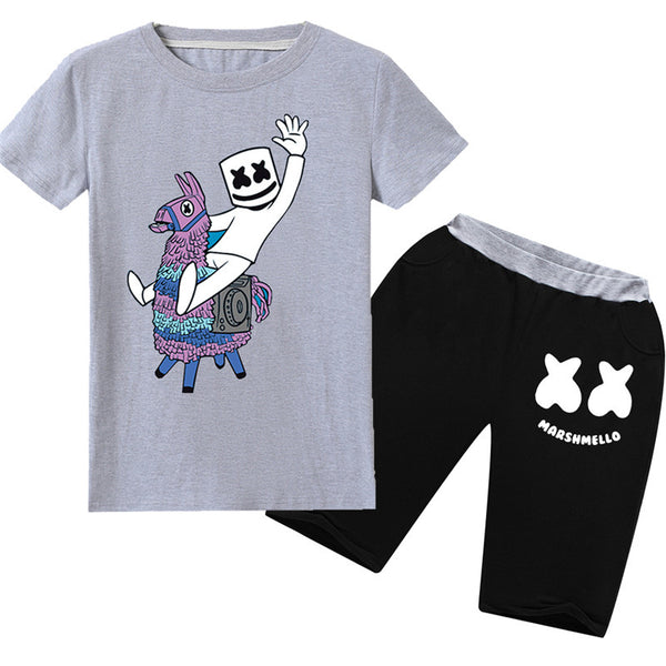 Boys' Marshmello DJ Shorts Sets Smiley Face Set