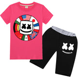 Kids Cotton Marshmello Short Sets Summer T-shirt Pants