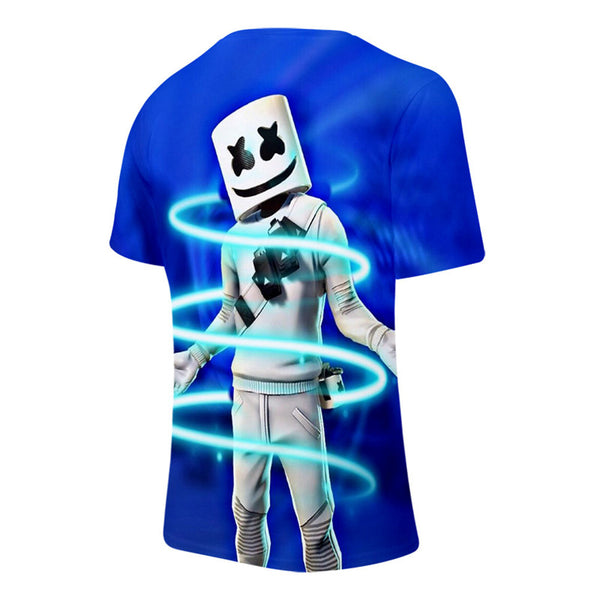 Boys Mens Marshmallow Short Sleeve 3D Shirt Summer T-Shirt
