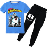 Kids Marshmello Short Sleeve Tee + Pants Boys Girls Sportwear Set
