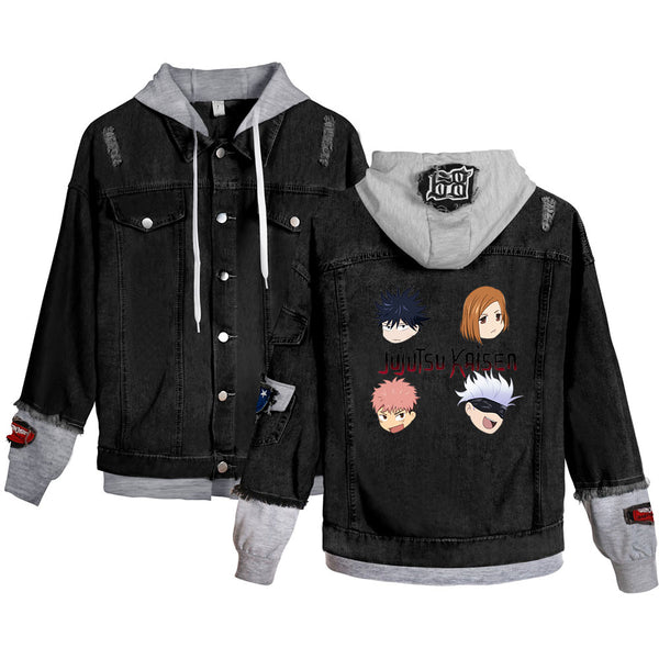 Pop Anime Jujutsu Kaisen Denim Jacket Cotton Jean Coat