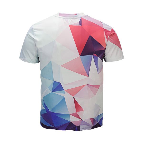 Men Fashion Geometric Round Neck 3D Graphic T-Shirt