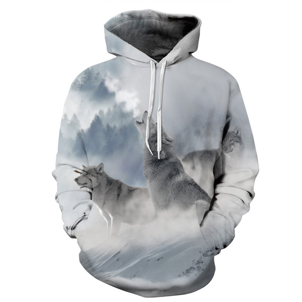 Snow Wolfs Long Sleeve Hoodies 3D Painted Sweatshirt