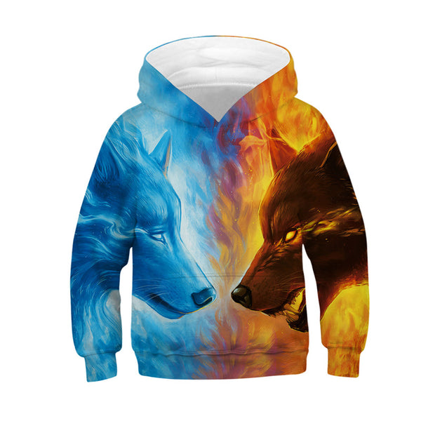 Kids Hoodies Ice And Fire Sweatshirts Pullover 4-13Y
