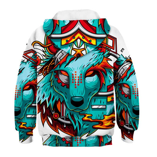 Kids Novelty Wolf Hoodies Sweatshirts Pullover 4-13Y