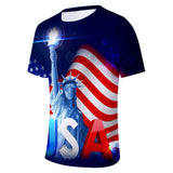 New USA Flag T-shirt Unisex Tshirt Print Striped American Flag