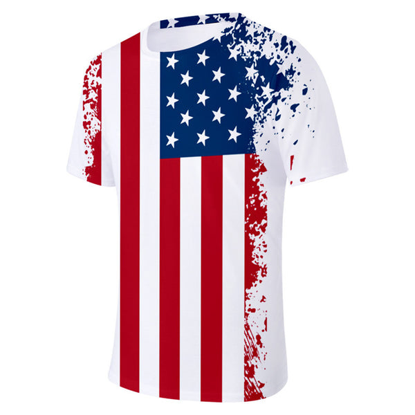 Tee Shirt Print Striped American Flag Unisex Tops Tees
