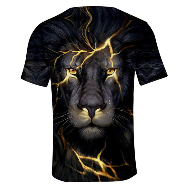 Unisex Casual 3D Lion Pattern Short Sleeve T-Shirts