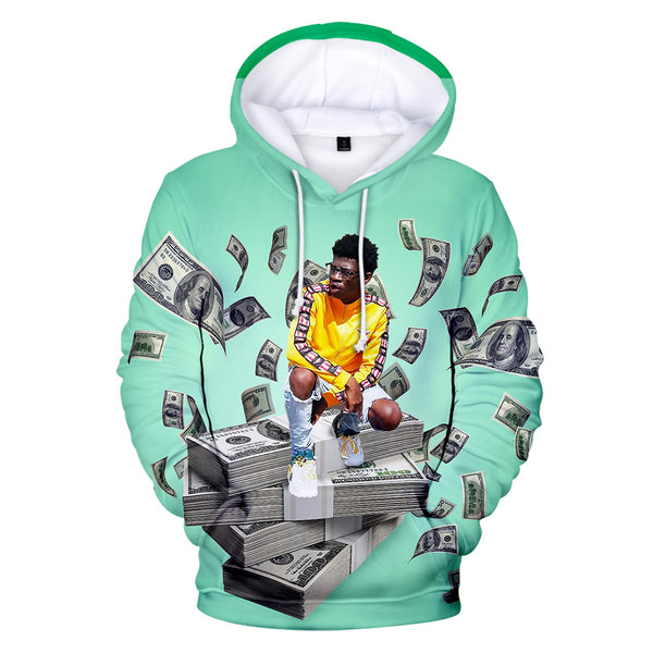 Rapper Lil Nas X Green 3D Hoodie Drawstring 3D All Over Print Pullover