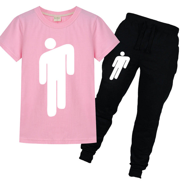 Billie Eilish Short Sleeve T-shirt with Pants Outfits Set for boys girls 3-14Y