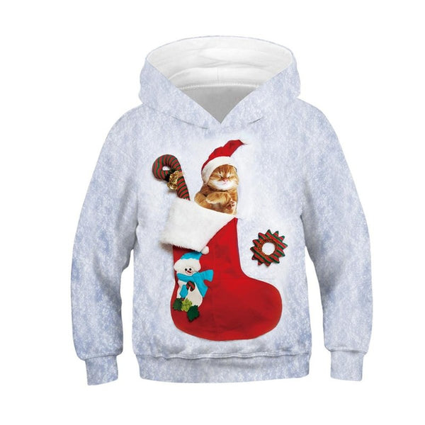 Boys Girls Cat Printed Chirstmas Hoodie Hooded Pullover Tops
