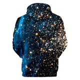 Drop Shoulder Star Cluster Drawstring Hoodie