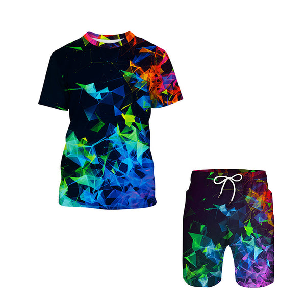 Coloful Print short Tops Shorts Two-Piece Outfit Coloful Summer Beach Casual Shorts 2Piece Outfits