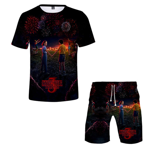 Stranger Things T-shirts tee Short Sleeve Beach shorts Two Piece Set