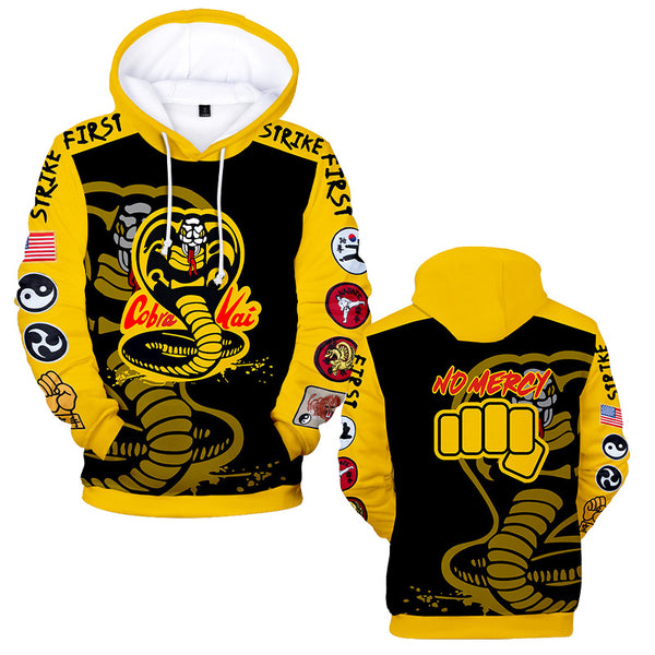 Mens Hoodie COBRA KAI Print Hooded Sweatshirt Halloween Costumes