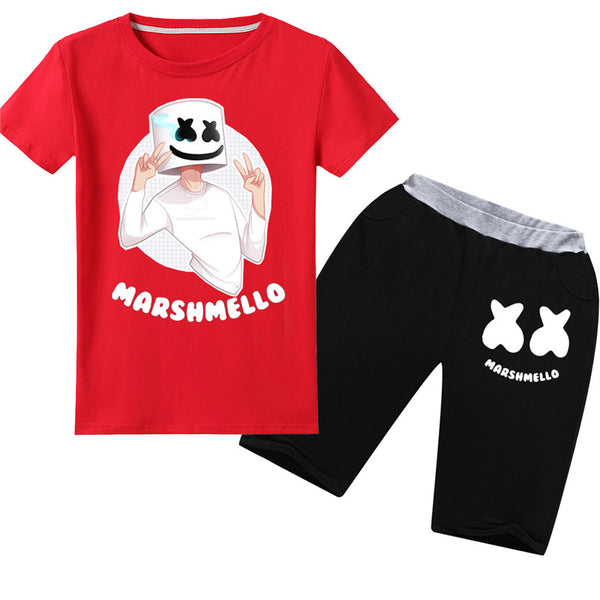 Youth Cool Marshmello Short Suit Smily Face Tee