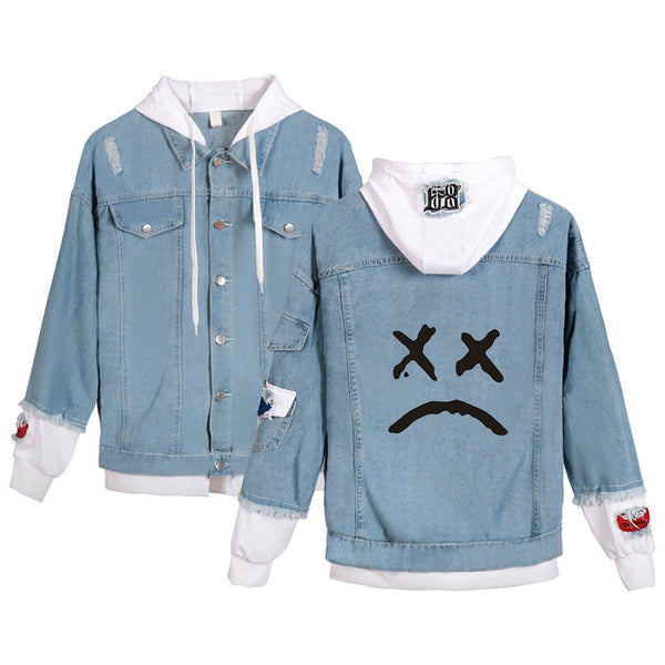 Lil Peep Cry Face Denim Jacket Cotton Jean Coat