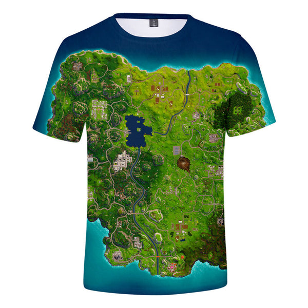 Fortnite Game Map Shirts Unisex Green Tshirt