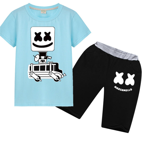 Marshmello DJ Short Sleeves Suit Hip Hop Tee Set