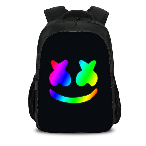 Marshmello Rainbow Smile Face Backpack Sets For Teenagers Boys Girls