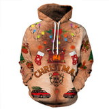 Fashion Christmas Sweatshirt Brown Print Hoodie