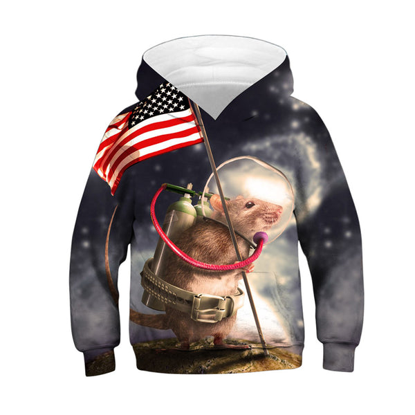 Teen Novelty Mouse Flag Hoodies Sweatshirts Pullover 4-13Y