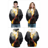 Spray Fire Wolf Long Sleeves 3D Printd Hoodie
