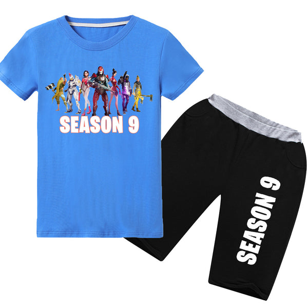 Youth Fortnite 2 Pieces Short Sets Cotton Tee