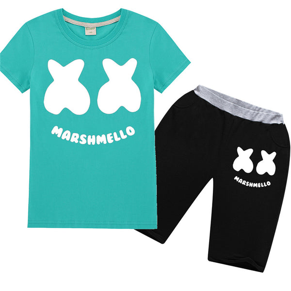Marshmello DJ Shorts Sets Smily Face Tee With Pants