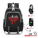 Stranger Things Printed Backpack Teenager School Bag With USB Charging Port