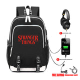 Stranger Things Logo Backpack Canvas Charging Book Bag