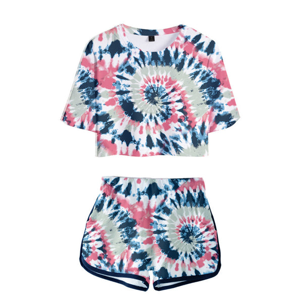 Tie Dye Women T-shirt Suits Bandhnu Crop Tops With Pants