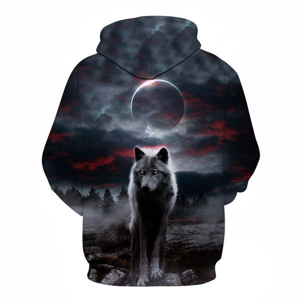 Night Sky Wolf 3D Print Pocket Hoodie