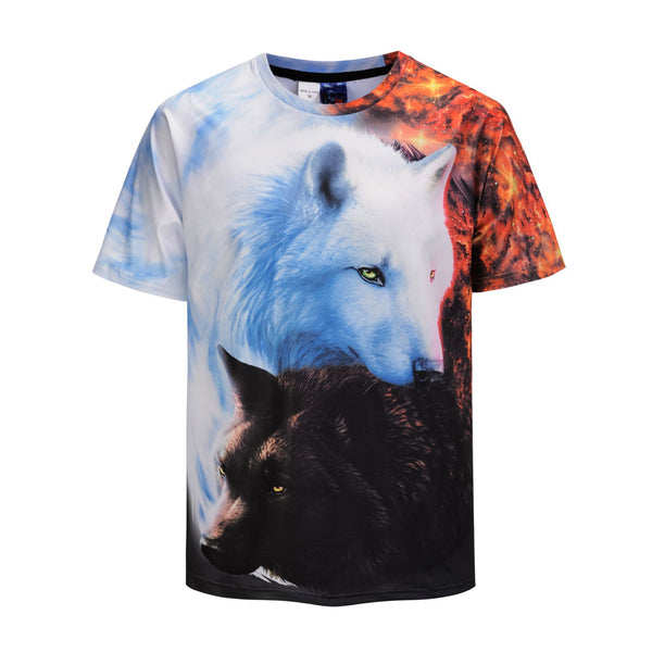 Black And white Double Wolf 3D Print T-shirt