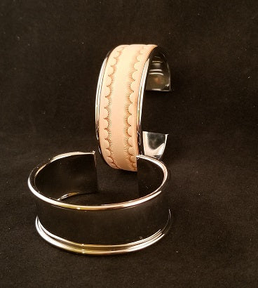 Metal Cuffs for Leather Inlay (NARROW)