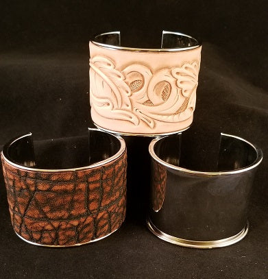 Metal Cuffs for Leather Inlay