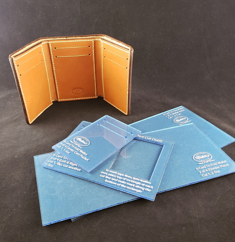 Tri Fold Wallet Template Set, 6 Card