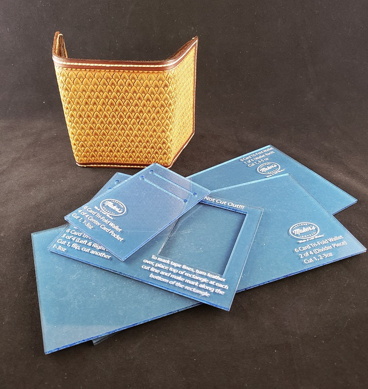 tri fold wallet template set 6 card maker s leather supply