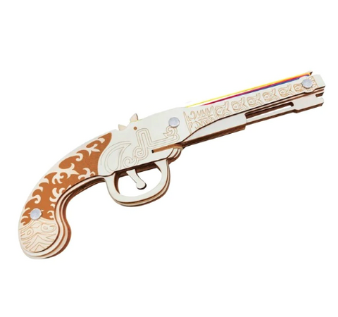 Pistol  3D Wooden Rubber Band Gun Puzzle
