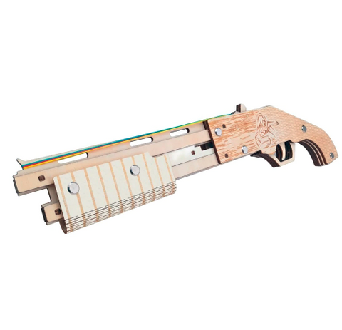 Shotgun 3D Wooden Rubber Band Gun Puzzle