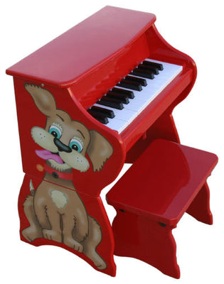 Children's Piano - 25 Key Red Dog Upright w/ Bench by Schoenhut