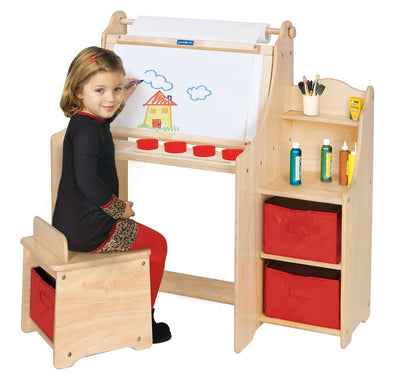 Artistic Kids Activity Desk w/Stool/Storage Bins/Paper Roll