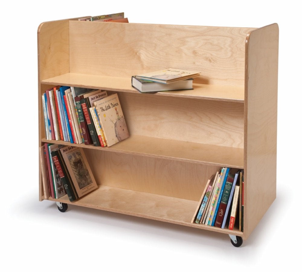 Child Bookcase-Two Sided Mobile Library Cart
