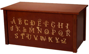 Dark Cherry Toybox with full Alphabet-Made in USA