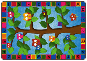 Alphabet Owls Kids Education Area Rug