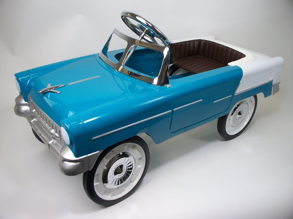 Aqua and White 55 Classic Pedal Car