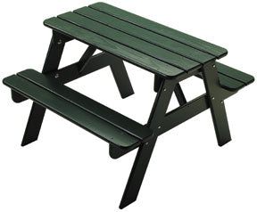 Kid's Picnic Table, White,Green,Red or Natural