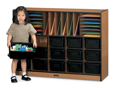SPROUTZ® SECTIONAL MOBILE CUBBIE With colored trays -BLACK CARAMEL NAVY RED by Jonti Craft