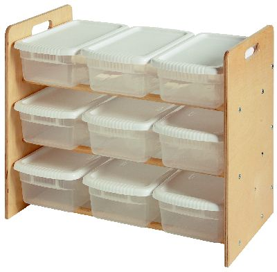 Kids Wooden Toy Organizer w/ 9 Bins, Natural finished or unfinished